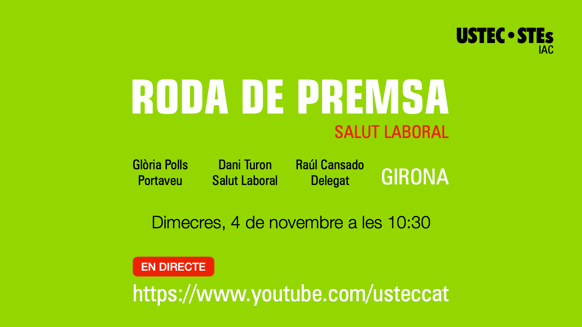 Roda de premsa Salut Laboral Girona 4 novembre 2020 USTEC·STEs