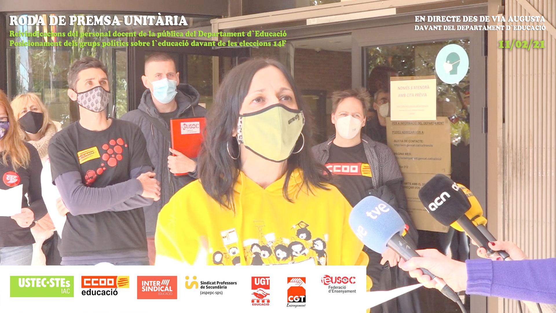 Roda de premsa unitària per les eleccions 14F davant del Departament d'Educació